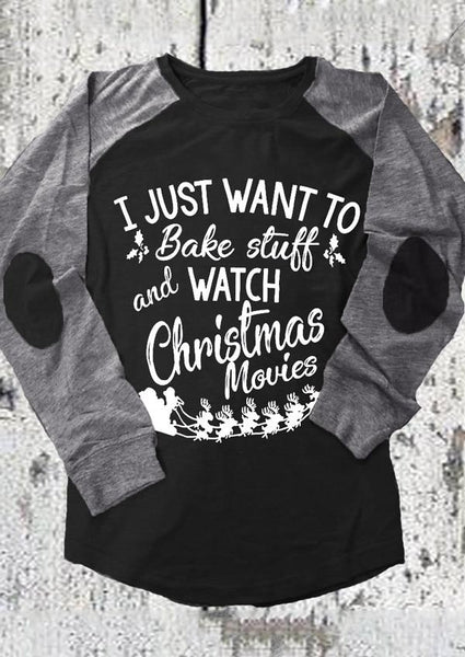 I Just Want to Bake Stuff & Watch Christmas Movies Round Neck Jersey