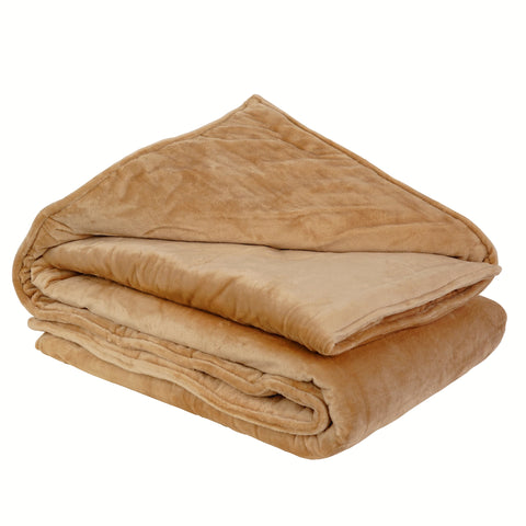 ZooVaa Weighted Blanket Throw w/ Glass Beads for Kids & Adults | Soft Minky 5lbs, 3ft x 4ft - Khaki