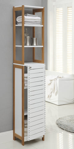 Organize It All High Cabinet - White/Bamboo