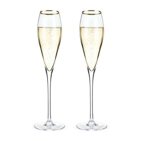 Belmont™ - Gold Rimmed Crystal Champagne Flutes (Set of 2)