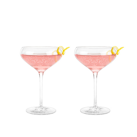 Garden Party: Floral Crystal Cocktail Coupe Set by Twine
