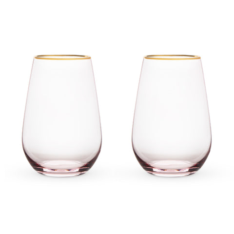 Garden Party: Rose Crystal Stemless Wine Glass Set by Twine