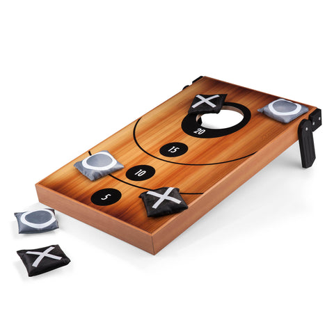 Mini Bean Bag Cornhole Throw Game, (Wood Grain with Bean Bag Toss & Tic Tac Toe Designs)