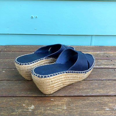 Chouchou Leather / Natural Woven Wedge High-Heels