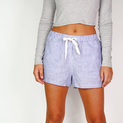 Assembly Label 100% Linen Striped Mini Shorts