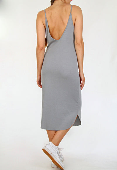 Sparkle & Fade Grey Ribbed Midi Dress