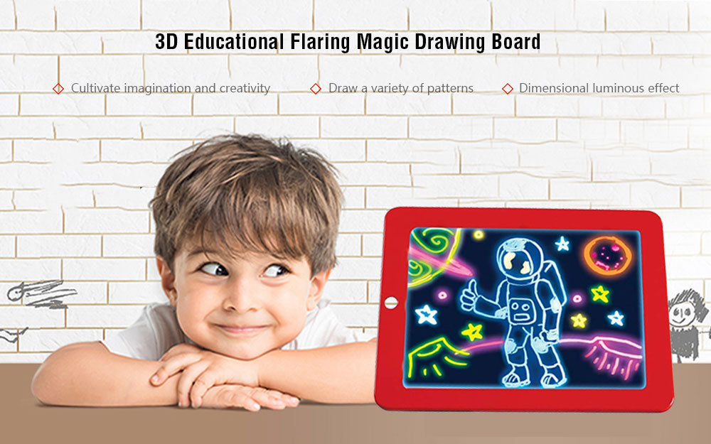 3D Children Educational Flaring Magic Drawing Board LED Writing Board Creative Art Magic Pad With Pen Brush Children Clipboard - eBabyZoom