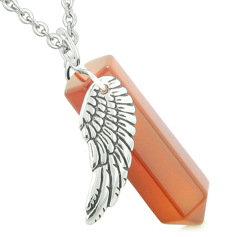 Unique Guardian Angel Lucky Crystal Point Pendants Gemstone Wand Necklaces and Charms