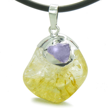 Brazilian Lucky Tumbled Citrine Crystal Tumbled Amethyst Amulet Charm Pendant Necklace