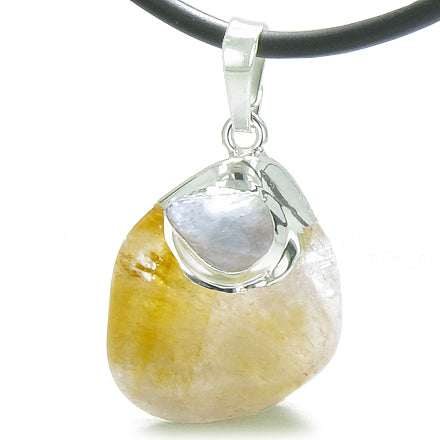 Brazilian Lucky Tumbled Citrine Crystal Tumbled Aquamarine Amulet Charm Pendant Necklace