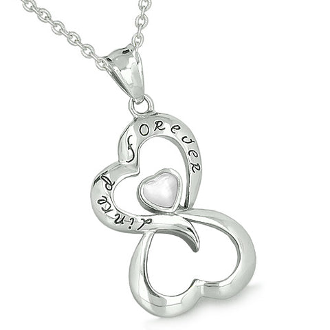 Infinity United Hearts Linked Forever Amulet Eternity Powers White Cats Eye Pendant Necklace