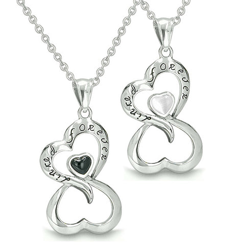 Amulets Infinity Hearts Linked Forever Couple or Best Friends Eternity Onyx Cats Eye Necklaces