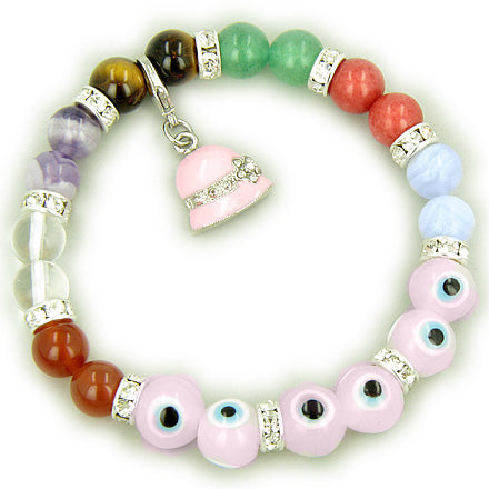 Chakra Gemstones and Evil Eye Swarovski Pink Eyes with Hat Charm Bracelet
