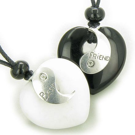 Lucky Best Friends Ying Yang White Jade and Black Onyx Hearts Gems Friendship Necklaces