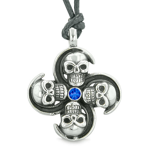 Supernatural Skull Powers Magic All Forces of Nature Amulet Blue Crystal Pendant Necklace