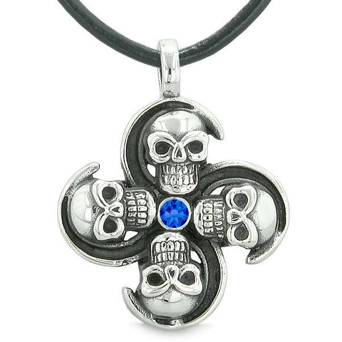 Supernatural Skull Powers Magic All Forces of Nature Amulet Royal Blue Crystal Pendant Necklace