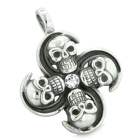 Supernatural Skull Amulet Powers Love Couples or Best Friends Red White Crystals Necklaces