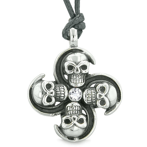 Supernatural Skull Powers Magic All Forces of Nature Amulet White Crystal Pendant Necklace