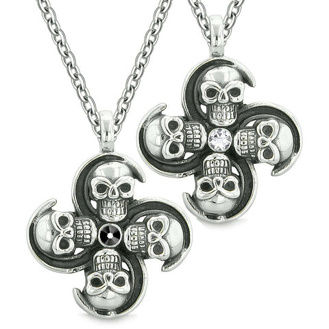 Supernatural Skull Amulet Powers Love Couples Best Friends Black White Crystals Pendant Necklaces