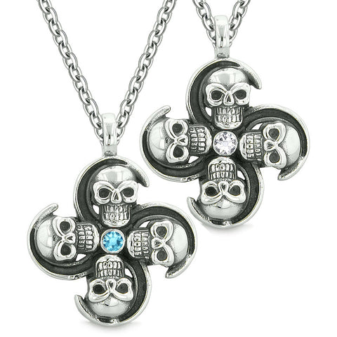 Supernatural Skull Amulet Powers Love Couples Best Friends Blue White Crystals Pendant Necklaces