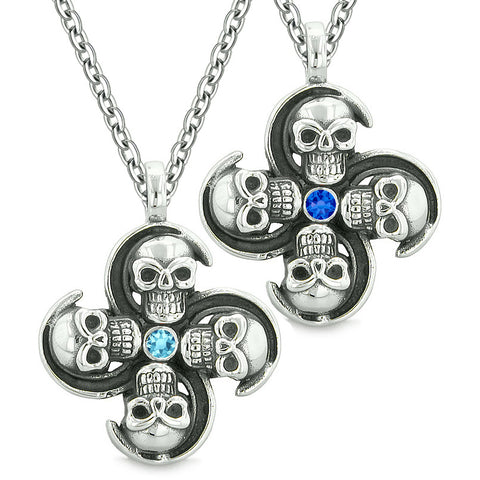 Supernatural Skull Amulet Powers Love Couples Best Friends Sky Royal Blue Crystal Pendant Necklaces