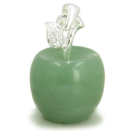Apple Pendant In Aventurine Silver Gemstone Money Talisman