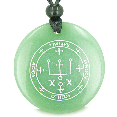 Sigil of the Archangel Raphael Magical Amulet Green Aventurine Magic Spiritual Pendant Necklace
