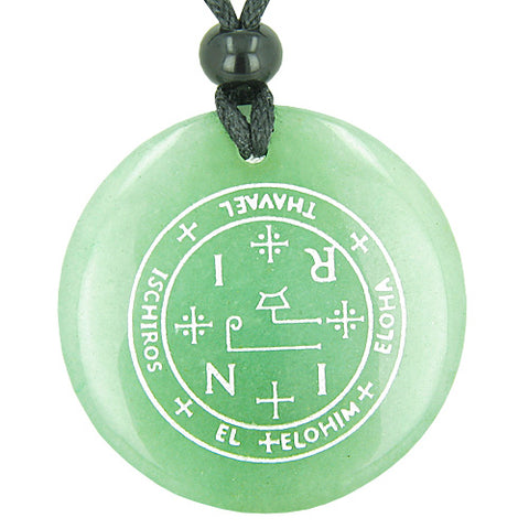 Sigil of the Archangel Thavael Magical Amulet Green Aventurine Magic Spiritual Pendant Necklace