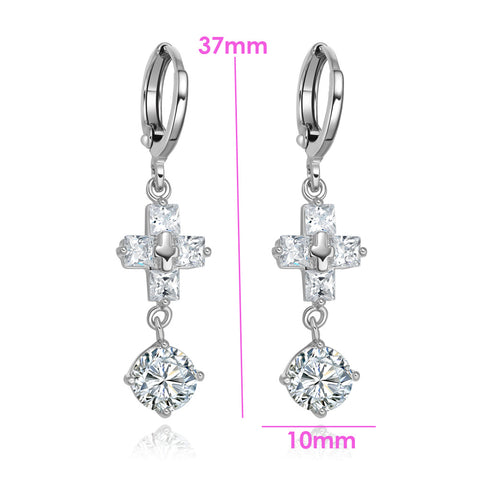 Gorgeous Unique Holy Cross Round Stud Snow White Sparkling Crystals Silver-Tone Fashion Earrings