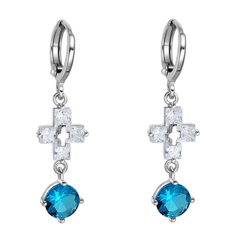 Gorgeous Unique Holy Cross Round Stud Aqua Blue Sparkling Crystals Silver-Tone Fashion Earrings