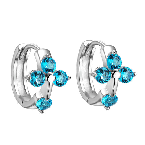 Small Beautiful Holy Cross Lucky Charms Silver-Tone Aqua Blue Sparkling Crystals Fashion Earrings