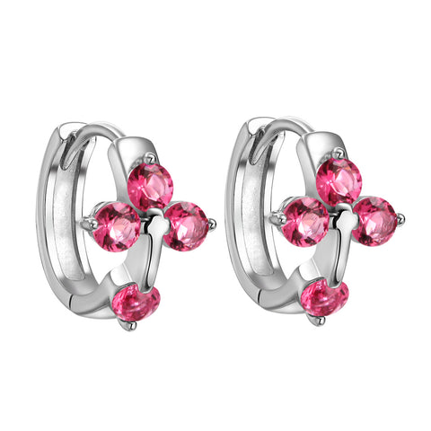 Small Beautiful Holy Cross Lucky Charms Silver-Tone Royal Pink Sparkling Crystals Fashion Earrings
