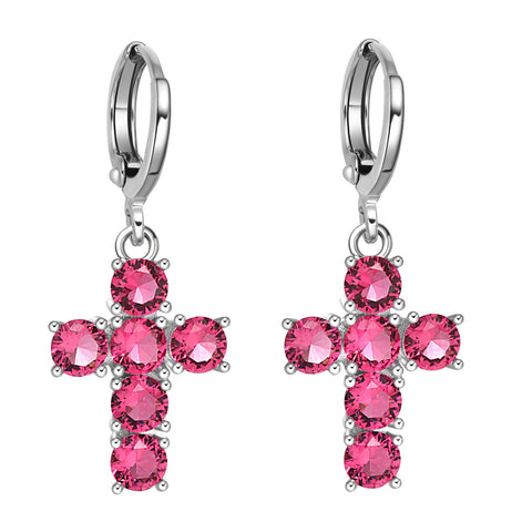 Fancy Magical Holy Cross Charms Silver-Tone Positive Energy Royal Pink Sparkling Crystals Earrings