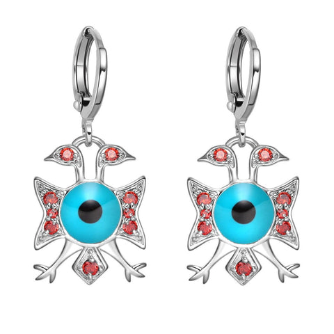 American Eagle and Evil Eye Protection Powers Amulets Silver-Tone Royal Red Crystals Earrings