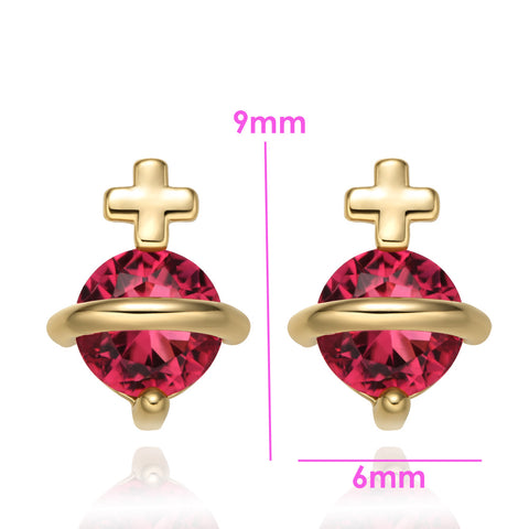 Tiny Stud Style Magic Circle Holy Cross Lucky Charms Gold-Tone Royal Red Crystals Earrings