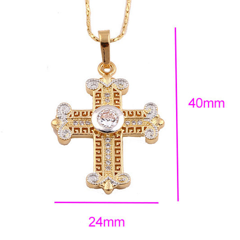 Amazing Cross Gold-Silver-Tone Stud Sparkling Crystals Positive Powers Amulet Pendant Necklace