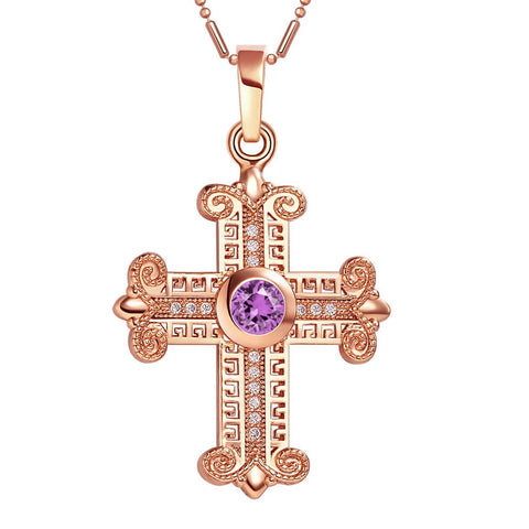 Amazing Cross Gold-Tone Royal Purple Sparkling Crystals Positive Powers Amulet Pendant Necklace