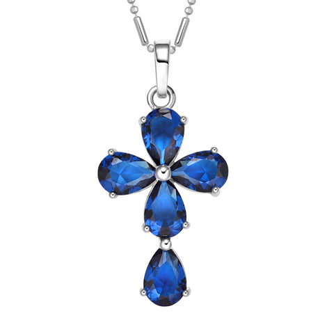 Magical Teardrop Style Cross Protection Amulet Silver-Tone Ocean Blue Sparkling Crystals Necklace