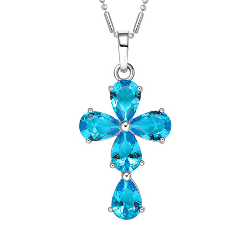 Magical Teardrop Style Cross Protection Amulet Silver-Tone Aqua Blue Sparkling Crystals Necklace