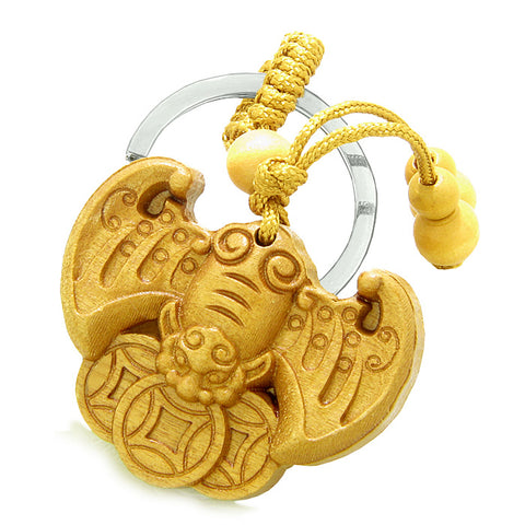 Amulet Flying Bat Lucky Coins Magic Protection Powers Charms Feng Shui Keychain Set Blessings