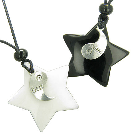 Lucky Best Friends Ying Yang White Jade and Black Onyx Star Gemstones Friendship Necklaces