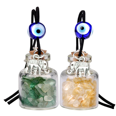 Lucky Elephants Magic Small Car Charms Home Decor Bottles Green Quartz Citrine Protection Amulets