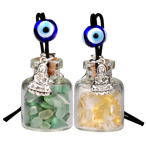 Kwan Yin Quan Small Car Charms Home Decor Gem Bottles Green Quartz Citrine Protection Amulets