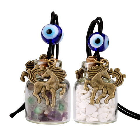 Unicorn Small Car Charms or Home Decor Gem Bottles Fluorite and White Howlite Protection Amulets
