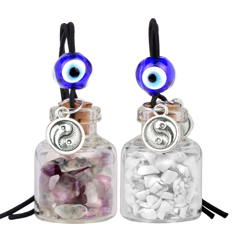 Balance Yin Yang Small Car Charms or Home Decor Bottles Fluorite White Howlite Protection Amulets
