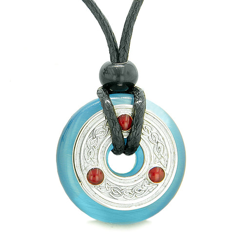 Amulet Celtic Triquetra Knot Lucky Coin Donut Charm Sky Blue Cats Eye ProtectiPendant Necklace