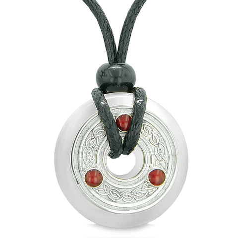 Amulet Celtic Triquetra Knot Lucky Coin Donut Charm White Cats Eye Protection Pendant Necklace