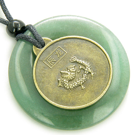 Magic Circle Dragon Kwan Yin Quan Money Talisman Coin Necklace
