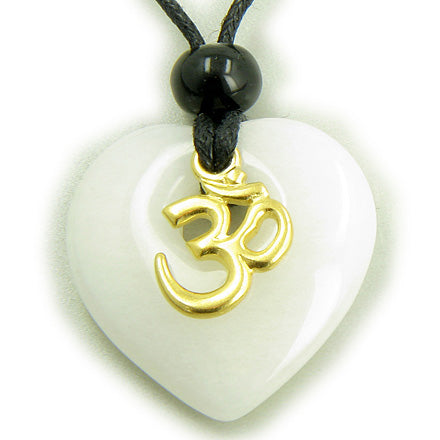 Magic Heart Om White Jade Protection Talisman Necklace Pendant
