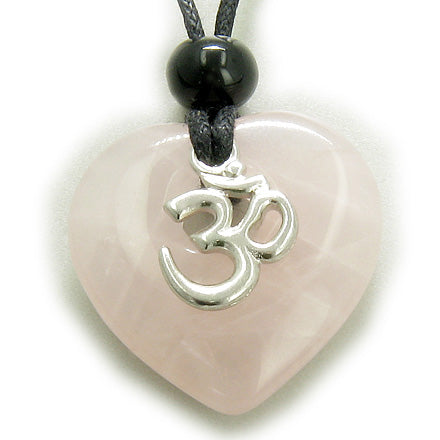 Magic Heart Om Rose Quartz Love Talisman Pendant Necklace